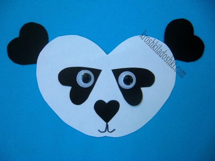 панда из бумажных сердец