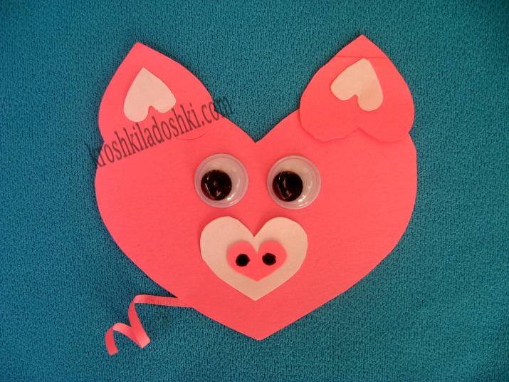 аппликация поросенок из сердечек