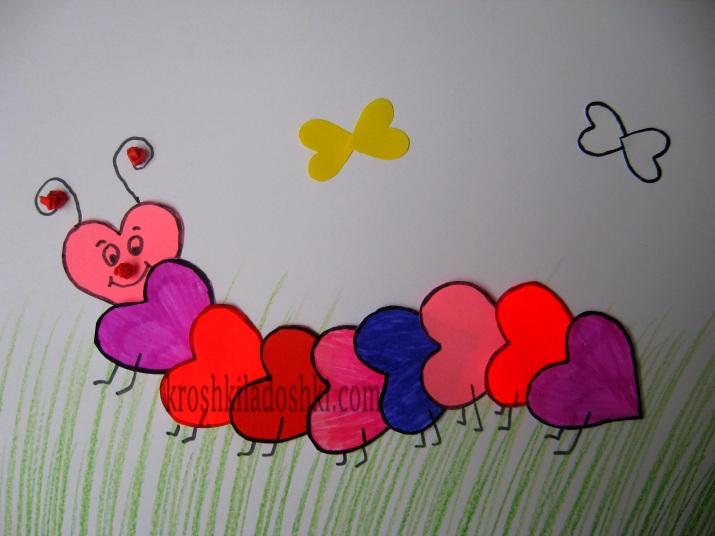 гусеница из сердечек