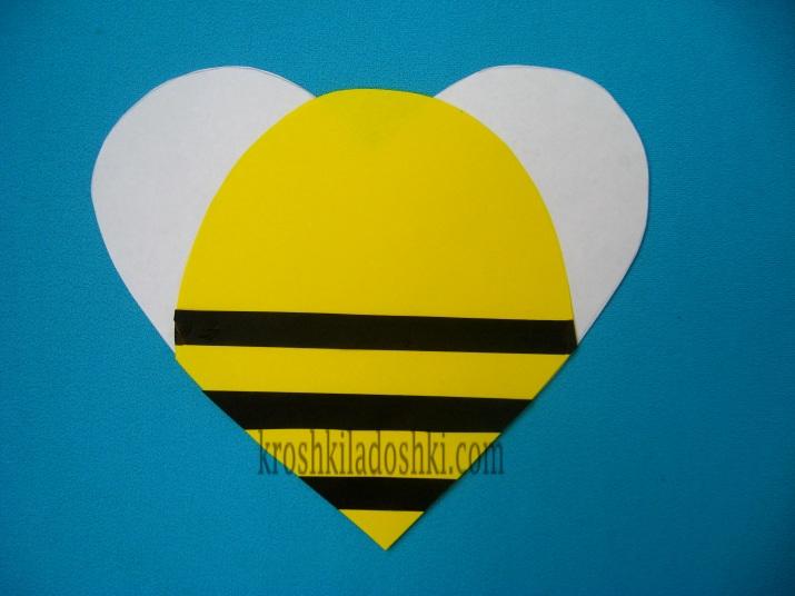 аппликация пчелка из цветной бумаги