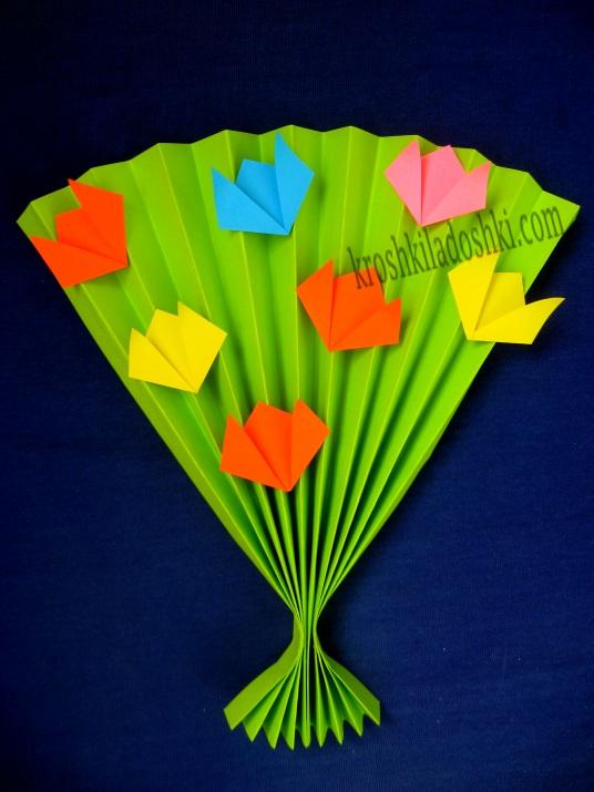 бумажный веер с тюльпанами своими руками