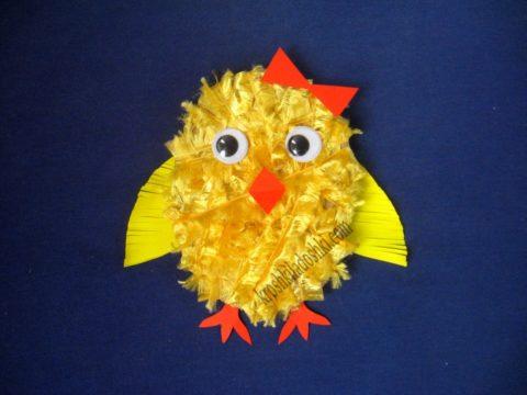 цыпленок из ниток и картона