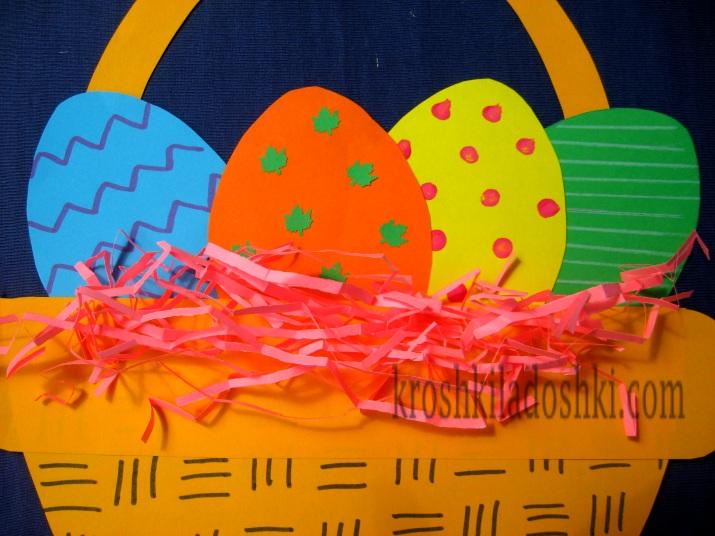 аппликация корзинка с яйцами