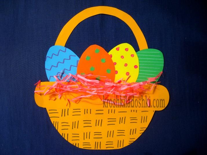 аппликация корзина с пасхальными яйцами