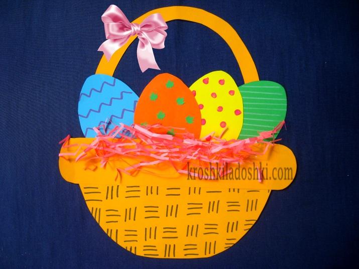 аппликация корзинка с пасхальными яйцами