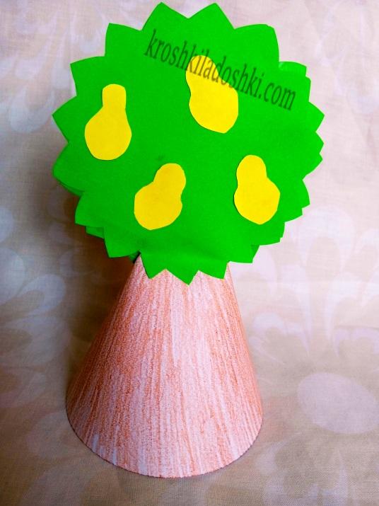 грушевое дерево из цветной бумаги