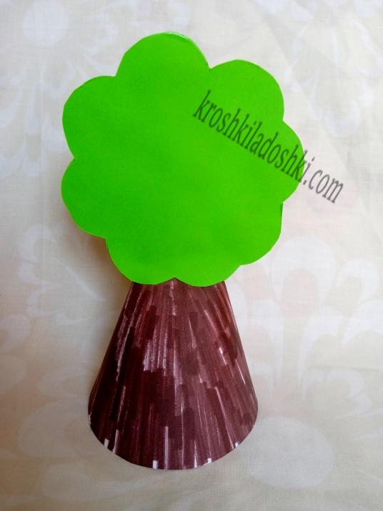 аппликация дерево из цветной бумаги